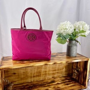 Tory Burch Nylon with Leather Detail Tote